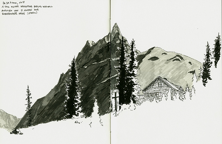 Konstanzer Hütte, alpen, scribblesunday, scribble, skizze, fineliner, tirol, hüttentrekking, wandern, bergsteigen, illustration, wanderung, trekking, arlberg, österreich, sommer