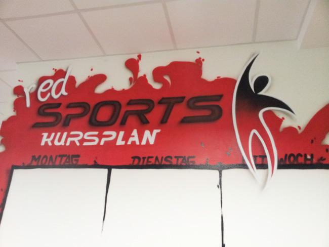 Red Sports, Fitnessstudio, Power, Graffiti, Wandgestaltung, Sprühdosen, Boris Kren, Fit, Studio, Sport