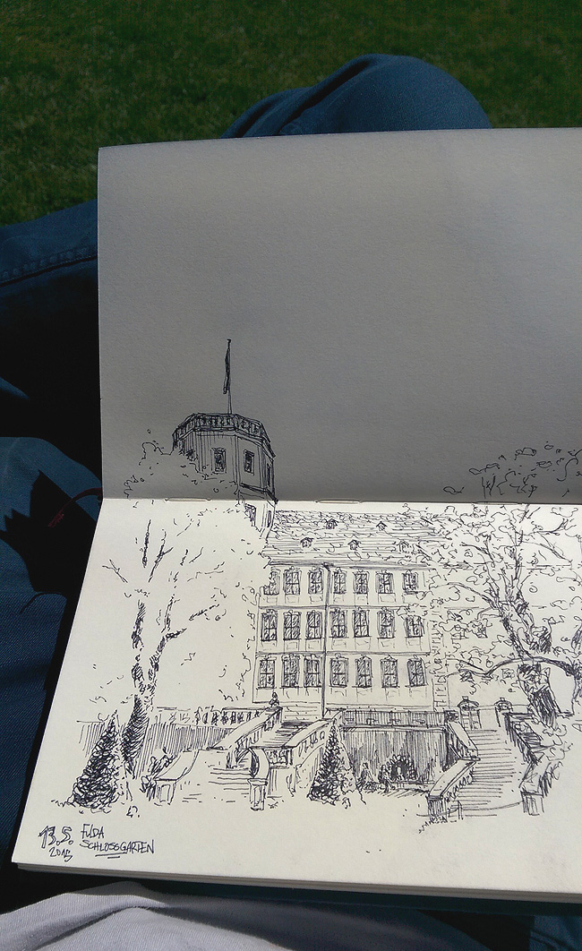Scribble, Illustration, Skizze, Schlossgarten, Stadtschloss, Fulda, Tusche, Mittagspause