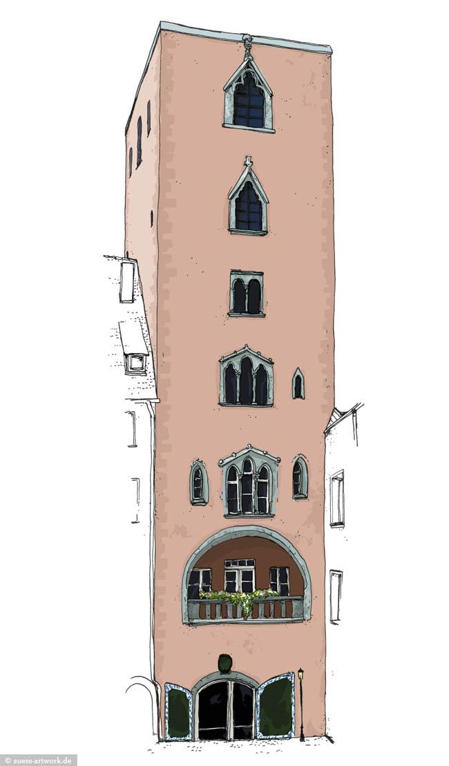 Regensburg Merian Zeitschrift Reise Illustration Zeichnung Baumburger Turm